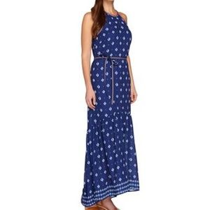 C Wonder Border Print Maxi Dress Blue Pink no belt